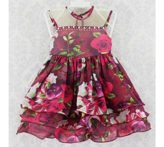 Vestido Infantil de Festa Floral Uva Ninali Chiffon Analu