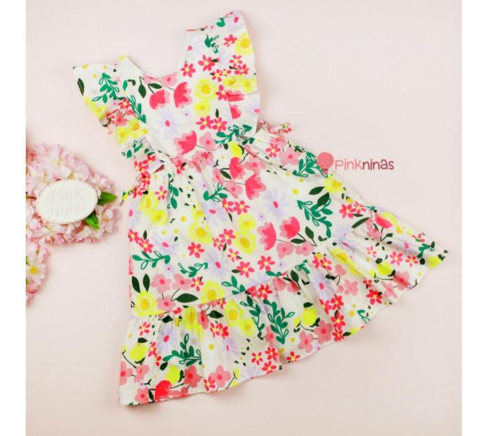 vestido-infantil-multicolorido-petit-cherie-natural-de-tricoline-floral-toque-neon-frente