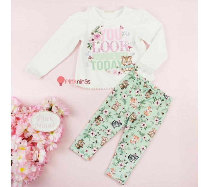 conjunto-infantil-bebe-verde-petit-cherie-blusa-e-calca-cristais-cute-forest-frente