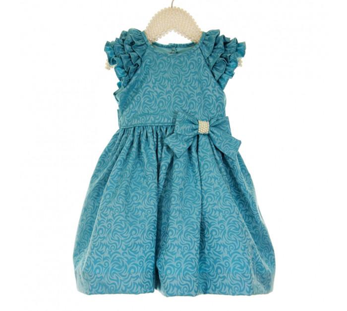 Vestido Infantil de Festa Azul Kopela Adamascado Emilly