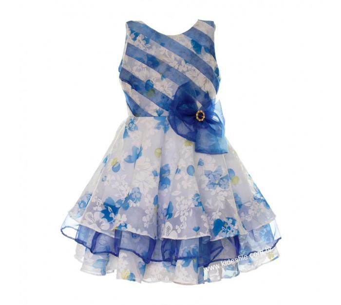 Vestido Infantil de Festa Branco e Azul Floral Devorê Noemi