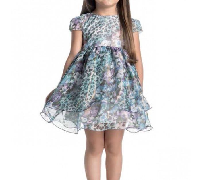 Vestido Infantil de Festa Floral Oncinha Ninali de Chiffon Giovanna