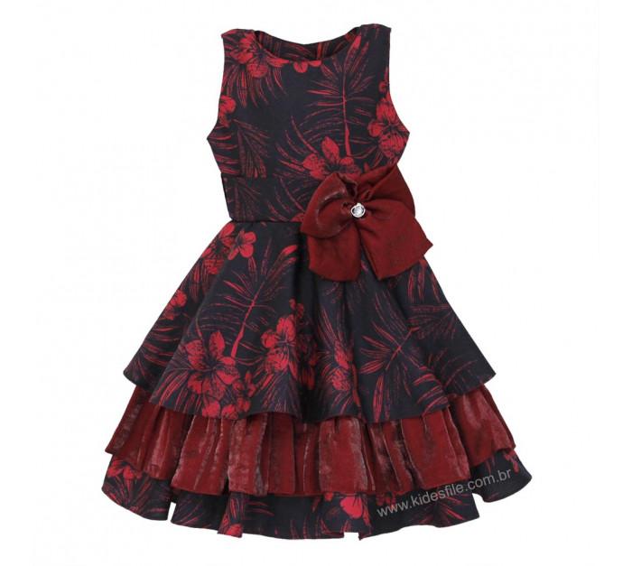 Vestido Infantil de Festa Preto Floral Vermelho e Tafetá Lucia