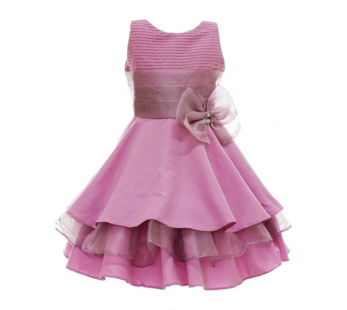 Vestido Infantil de Festa Rosa Chiclete Fio Tinto com Gazar Maysa