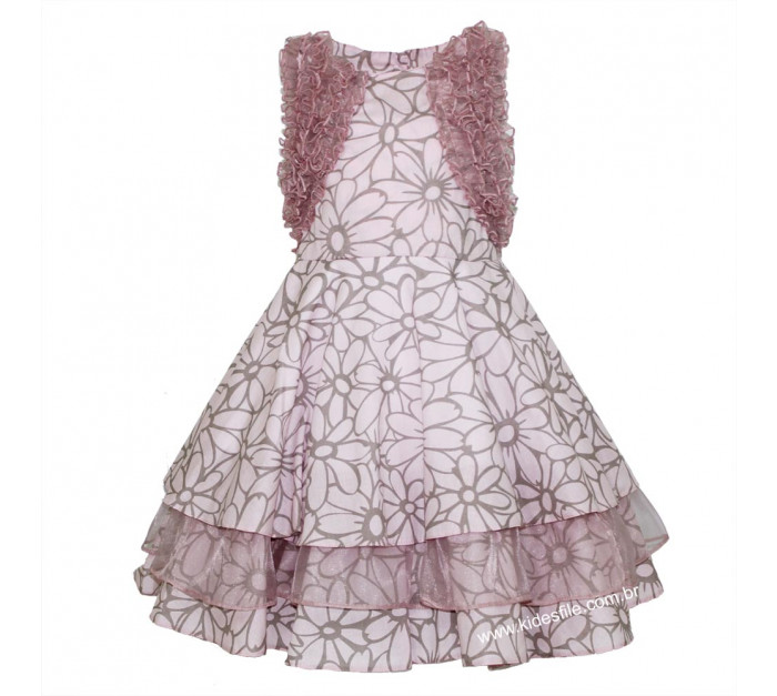 Vestido Infantil de Festa Rosa Floral com Gazar Sabrina