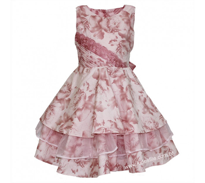 Vestido Infantil de Festa Rosa Floral com Gazar Talita