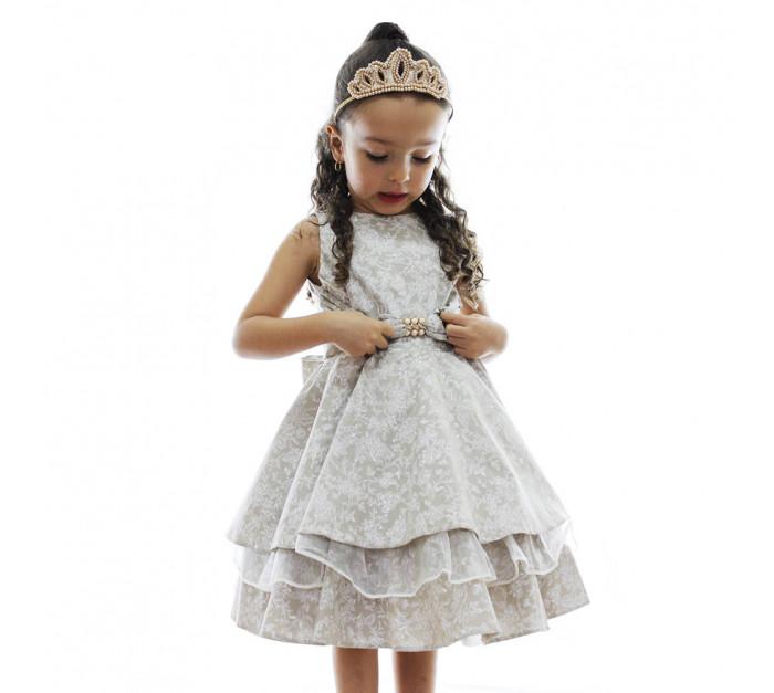 Vestido Infantil de Festa Taupe Floral com Gazar Taine