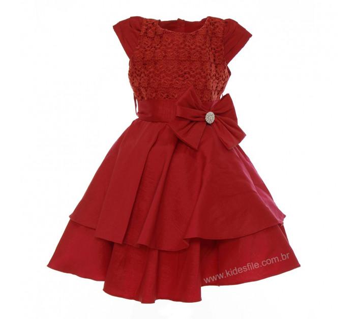 Vestido Infantil de Festa Vermelho Renda Alexandra