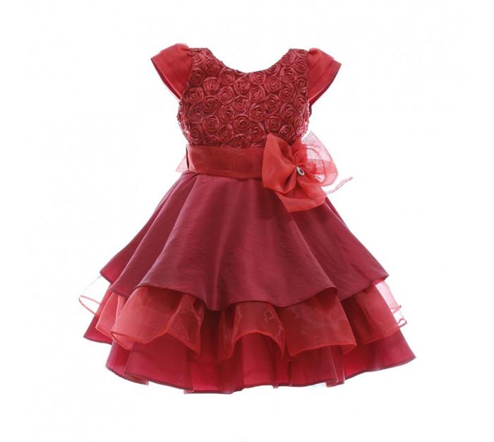 Vestido Infantil de Festa Vermelho Renda Flores Heloisa
