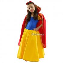 Fantasia Infantil Vestido de Princesa Amarelo & Azul + Capa Vermelha + Tiara