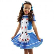 Fantasia Infantil Vestido Alice + Avental + Tiara Flores