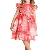 1f957c3e81 Vestido Infantil de Festa Floral Laranja Ninali de Chiffon Mariah