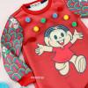 vestido-infantil-vermelho-turma-da-monica-mon-sucre-pompons-multicoloridos-detalhe
