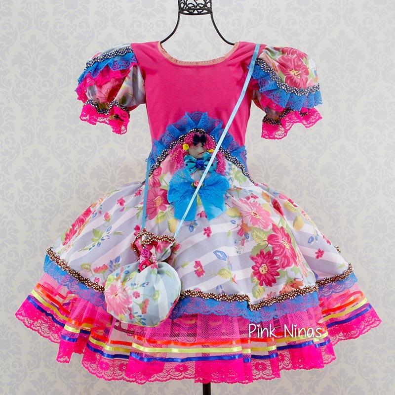 vestido junino infantil da pink ninas