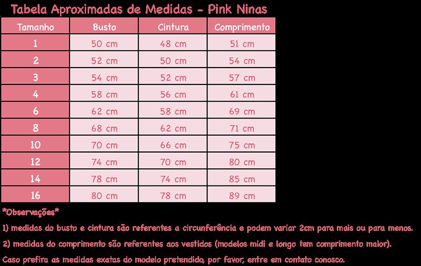 Tabela de Medidas Pink Ninas